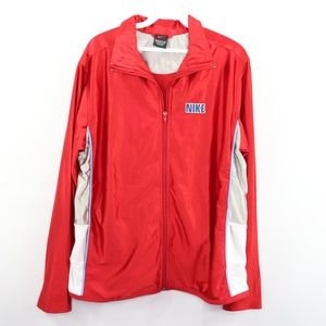 Vtg 90s Nike Mens Small Spell Out Satin Jacket Red
